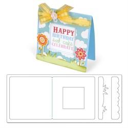 Дебели щанци за рязане картичка с отвор и трева - SIZZIX - Bigz XL Dies - Card, Square w/Window