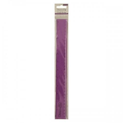 """Крафт линия 12"""" в сантимерни и инчове с метален накрайник  - Dovecraft 12 inch Craft Ruler"""