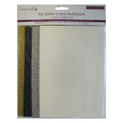 12бр. брокатени листи, А5 - Dovecraft - Glitter Multi Pack A5 Metallic 12 Sheets