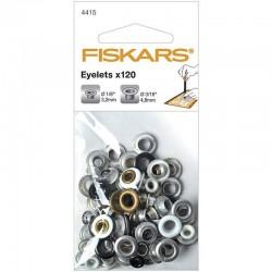 """Айлети черни, бели, сребро и мед - 120бр.- два размери - (1/8"""" 3/16"""") - Fiskars - Eyelets Round 120 Pack (1/8"""" 3/16"""")"""