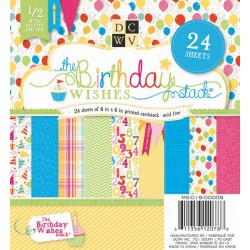 "Дизайнерско блокче ""Честит рожден ден"" 6"" x 6"", 24 листа - DCWV - Birthday Hanging Stack 6X6"