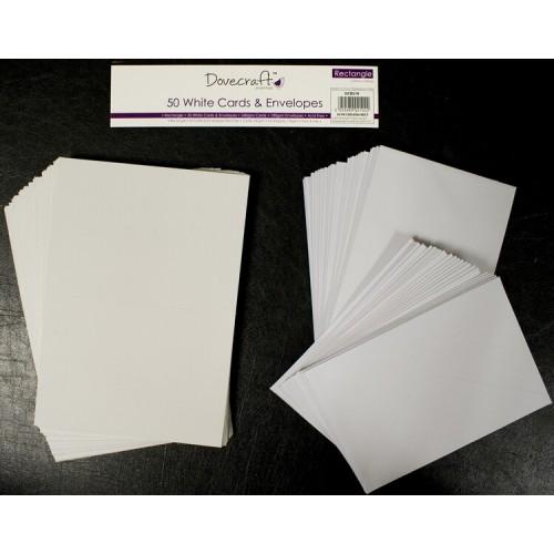 Комплект от 50бр. били основи за картички *- 250гр.. и пликове, размер C6 - Dovecraft Rectangular Cards and Envelopes