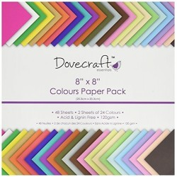 "Блокче с цветни листи  8"" х 8"" - Dovecraft - 8x8 Paper Pack Colours Value 48 Sheets"