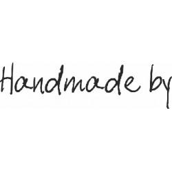 """Гумен печат на дървено блокче """"Ръчно направено от """" - Art Stamps - Scribbled Handmade By"""
