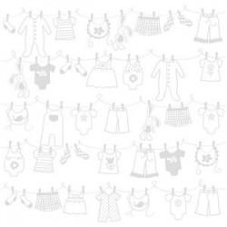 "Дизайнерски картон - бебешки простир - унисекс - бяло - 12""х12"" - Bazzill basics paper - Clothesline Lily White - 215 gsm"