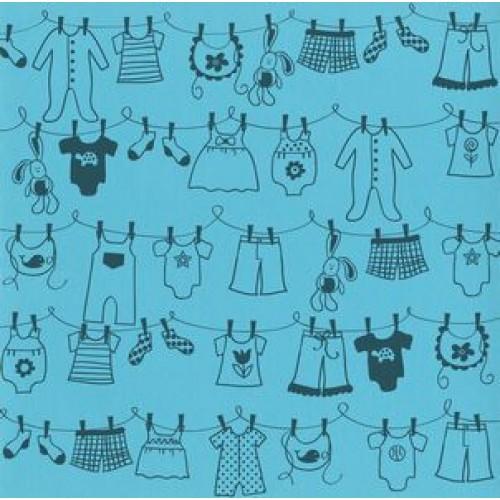 "Дизайнерски картон - бебешки простир - момче - 12""х12"" - Bazzill basics paper - Clothesline Boy Atlantic- 215 gsm"