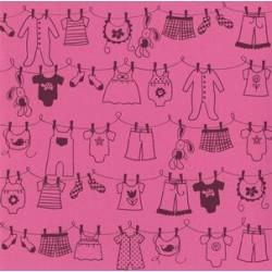 "Дизайнерски картон - бебешки простир - момиче - 12""х12"" - Bazzill basics paper - Clothesline Girl Chablis - 215 gsm"