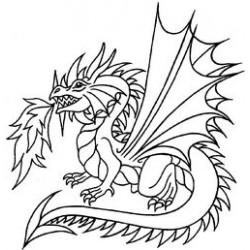 Гумен печат на дървено блокче дракон -  Art stamps - Dragon