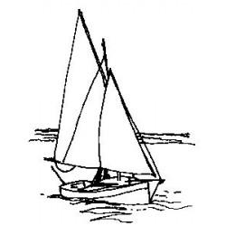Гумен печат на дървено блокче лодка -  Art stamps - Yach