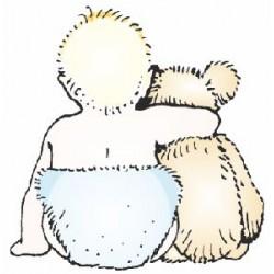 Гумен печат на дървено блокче бебе и мече -  Art stamps - Baby & Ted