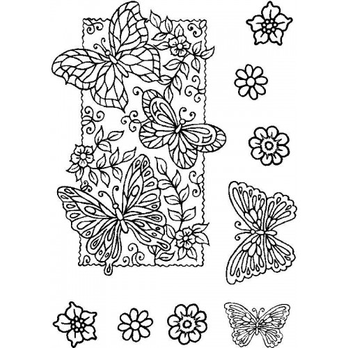 Силиконов печатпеперуди -  A6 - Butterfly Background