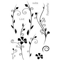 Силиконов печат клонки и цветя -  A6 - Floral Words
