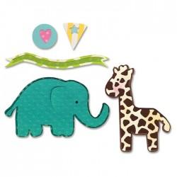 Универсални шаблони за рязане и релеф - Sizzix - Thinlits Die Set 7PK - Elephant & Giraffe