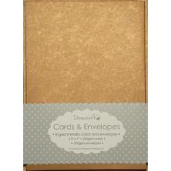 "Комплект основи за картички и пликове в антично злато - Dovecraft - Metallic Antique Gold 5""x7"" Cards & Envelopes"