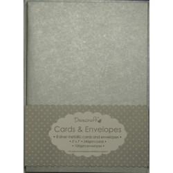 """Комплект основи за картички и пликове в сребро - Dovecraft - Metallic Silver 5""""x7"""" Cards & Envelopes , with silver envelope"""