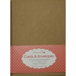 """Комплект основи за картички и пликове от крафт картон - Dovecraft - Kraft 5""""x7"""" Cards & Envelopes , with kraft envelope"""