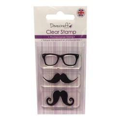 Силиконов печат мустаци и очила - Dovecraft - Mustache & Glasses