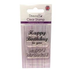 Силиконов печат Честит рожден ден -  Dovecraft - Clear Stamp Happy Birthday