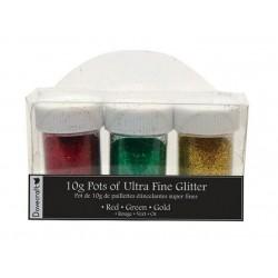 Комплект от 3бр. бурканчета с брокат - Glitter Kits - Red, Green and Gold, 3 pots of ultra fine glitter