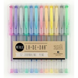 Комплект от 12 бр. химикали металик - La De Dah - Metallic Journal Pens