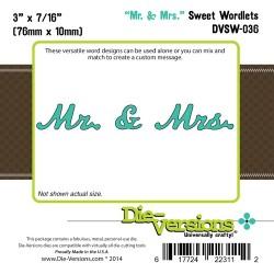 Универсален шаблон за изрязване и релеф - Die Versions - Sweet Wordlets - Mr & Mrs
