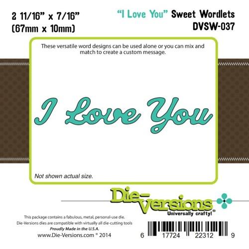 Универсален шаблон за изрязване и релеф - Die-Versions -  Sweet Wordlets - I Love You