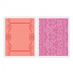 Папка за ембосинг - Sizzix - Sizzix Textured Impressions Embossing Folders 2PK - Scroll Frame & Succulent Set