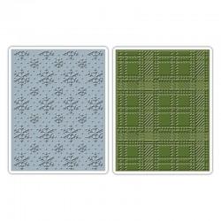 Ембосинг папки к-т от 2 бр. снежинки/ каре - Sizzix - Sizzix Tim Holtz texture fades embos. fold. 2pk snowflake