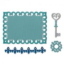 Щанца за изрязване етикет/ ключ/ бордюр - Sizzix - Sizzix Thinlits Die Set 4PK - Border, Label, Medallion & Key