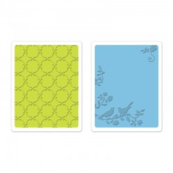 Комплект от 2 бр. папки за релеф - Sizzix Textured Impressions Embossing Folders 2PK - Songbirds & Lattice Set by Brenda Walton