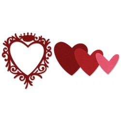 Универсална щанца за рязане - Sizzix Framelits Die Set 4PK - Frame, Heart w/Crown