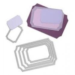 Универсална щанца за рязане - етикети с вдлъбнати ъгли -  Sizzix Framelits Die Set 5PK - Tickets