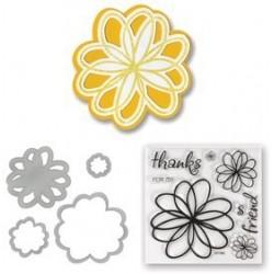 Универсална щанца за рязане - Sizzix Framelits Die Set 4PK w/Stamps - Flowers, Doodle
