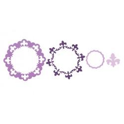 Универсална щанца за рязане - Sizzix Framelits Die Set 3PK - Frame, Circle w/Fleur de Lis Edging