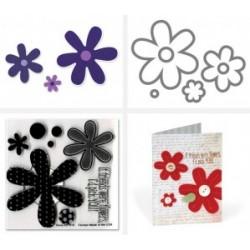 Универсална щанца за рязане - Sizzix Framelits Die Set 6PK w/Stamps - Flowers, Daisies