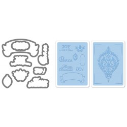 Универсална щанца за рязане - Sizzix Framelits Die Set 8PK w/Textured Impressions - Ornament Set