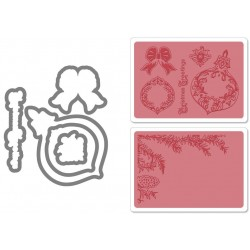Универсална щанца за рязане - Sizzix Framelits Die Set 5PK w/Textured Impressions - Pinecone & Ornament Set