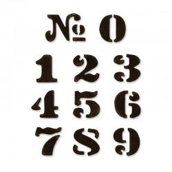 """Комплект от 10бр. щанци за изрязване """"цифри от 0-9"""" - Sizzix - Movers & Shapers Magnetic Die Set 11PK - Cargo Stencil Number Set"""