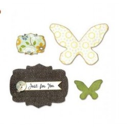 Щанца - Sizzix Bigz Die - Butterflies & Labels by Karen Burniston