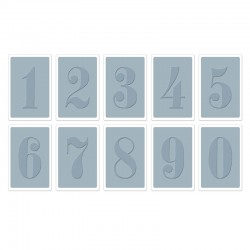 """Комплект от 10бр. папки за релеф """"цифри от 0-9"""" - Sizzix - Texture Trades Embossing Folders 10PK - Numbers Set"""