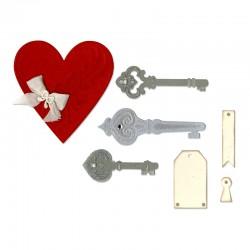 Шаблон за изрязване - Sizzix Thinlits Die Set 7PK - Heart, Keys & Tags