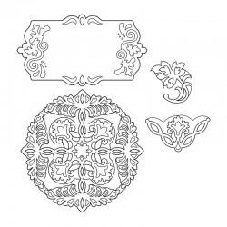 Шаблон за изрязване - Sizzix Thinlits Die Set 4PK - Ornate Flowers & Tag