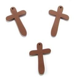 Комплект от 5бр. декоративни дървени кръстове  - 49x31x5 мм - кафеви