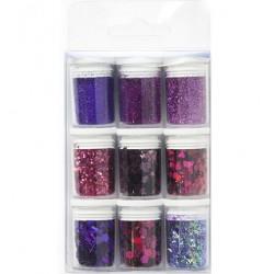 Декоративен брокат и пайети - лилава гама - Glitter Set Purple