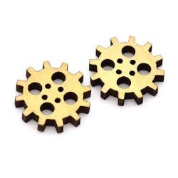 Комплект от 10бр. дървени декоративни зъбни колела