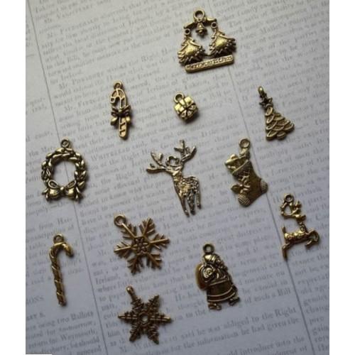 12бр. Новогодишни метални елемента - злато