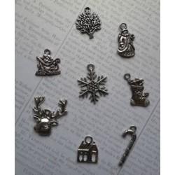 8бр. Новогодишни метални елемента - сребро
