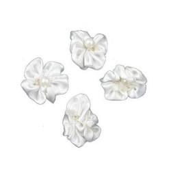 Сатенена бяла панделка с перла - цвете - 23мм - 10 броя