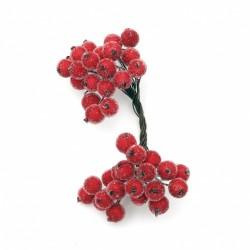 Снопче захаросани плодчета за Коледна декорация 20бр. двустранни - червени - топчета за декорация