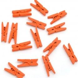 Мини дървени щипчици 3х25мм - оранжеви - 10 броя